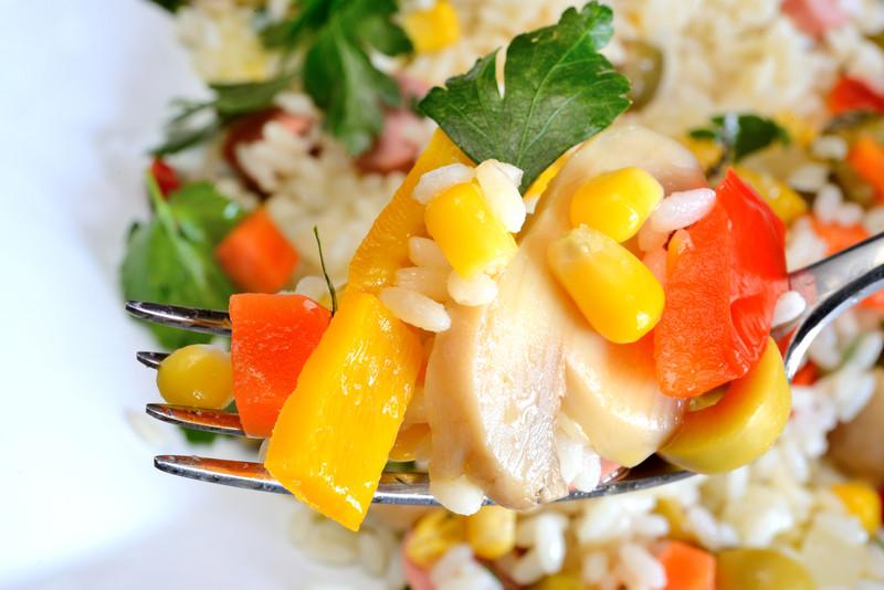 Salade de riz aux cinq légumes